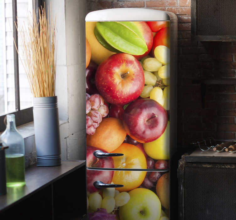 TenStickers. Fruits and legumes fridge wrap. Coloured fruits and legumes fridge sticker design that will have an amazing look and feel on the body of your fridge. You can choose the size.