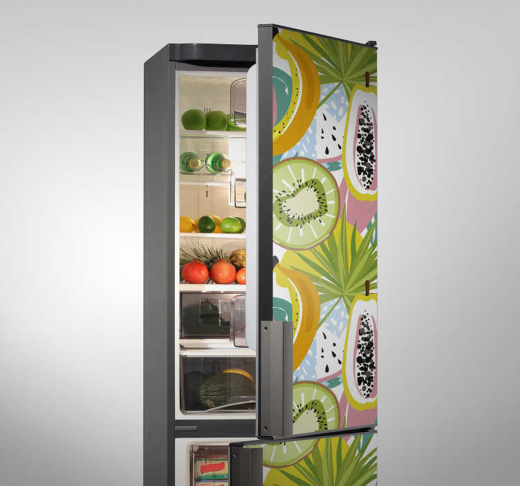 TenStickers. fruit refrigerator fridge wrap. Coloured Fruit refrigerator fridge wrap  sticker that is amazing for the body of your refrigerator and you can choose any size that suit your space.