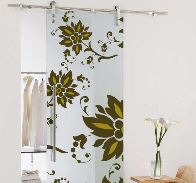 TenStickers. Floral Pattern Decal. Decals - A colourful floral feature to decorate your walls, doors, cupboards and more. Available in various sizes.