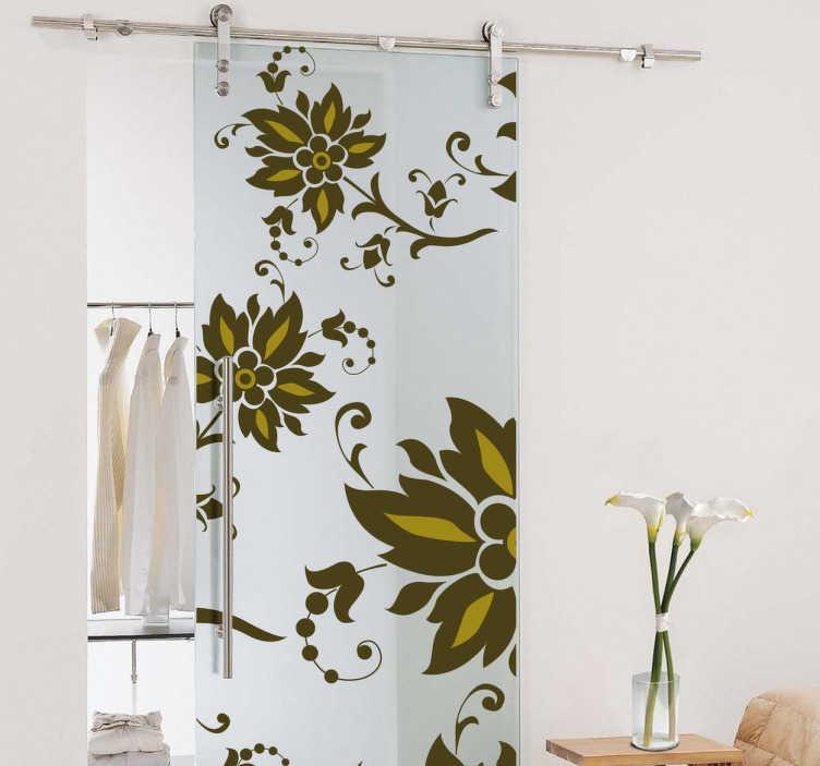 TenStickers. Naklejka dekoracyjna na drzwi zielone kwiaty. Naklejka dekoracyjna na drzwi, która przedstawia zielone polne kwiaty. Obrazek jest dostępny w wielu rozmiarach.