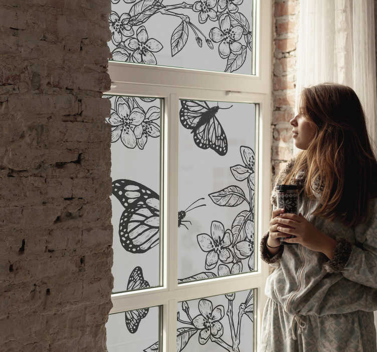 TenStickers. Window lepidoptera window decal. A black window lepidoptera with flower window sticker design that is easy to apply on the surface leaving a beautiful and amazing feeling to you.