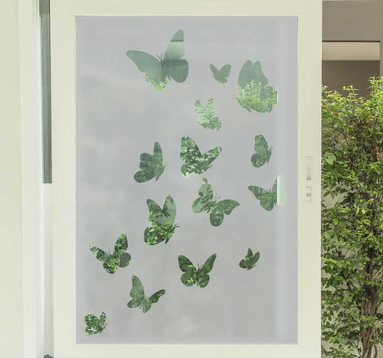 TENSTICKERS. 複数の飛ぶ蝶の窓のステッカー. 蝶は美しいので、このフライングバタフライウィンドウステッカーを窓やお好みのガラス表面に貼っておくのが大好きです。