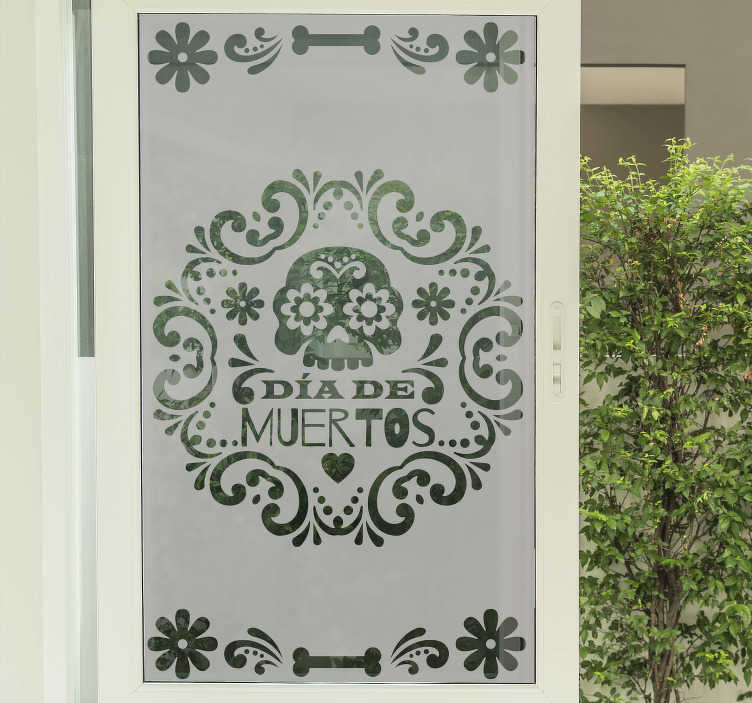 TenStickers. day of the dead windows window decal. Day of the dead historic window decal that is designed in simple green colour with detailed representation of the history. Finished in high quality.