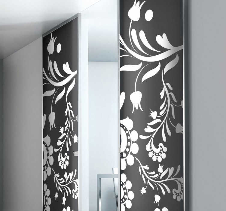 TenStickers. Floral Door Flowers Decal. Decals - Floral pattern design. Distinctive feature for your home or business.