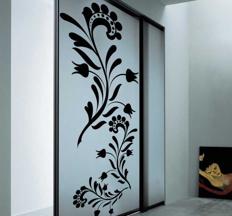 sticker d coratif porte florale monochrome tenstickers. Black Bedroom Furniture Sets. Home Design Ideas