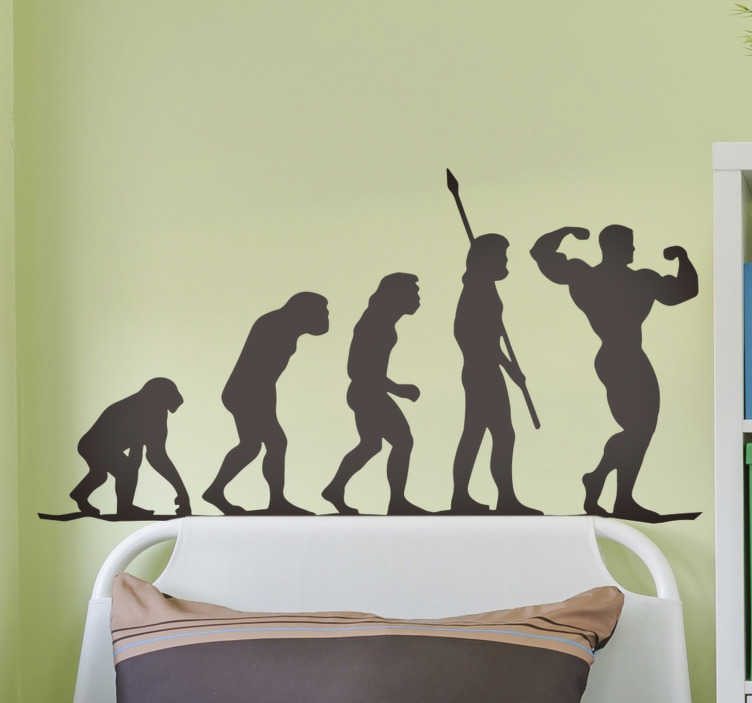 TENSTICKERS. ジムの進化の壁の装飾. ジムの進化からどのように進化するかを示すジムエボリューションウォールステッカーアート。このインスピレーションのデザインは高品質のマットで、どのサイズでもかまいません。