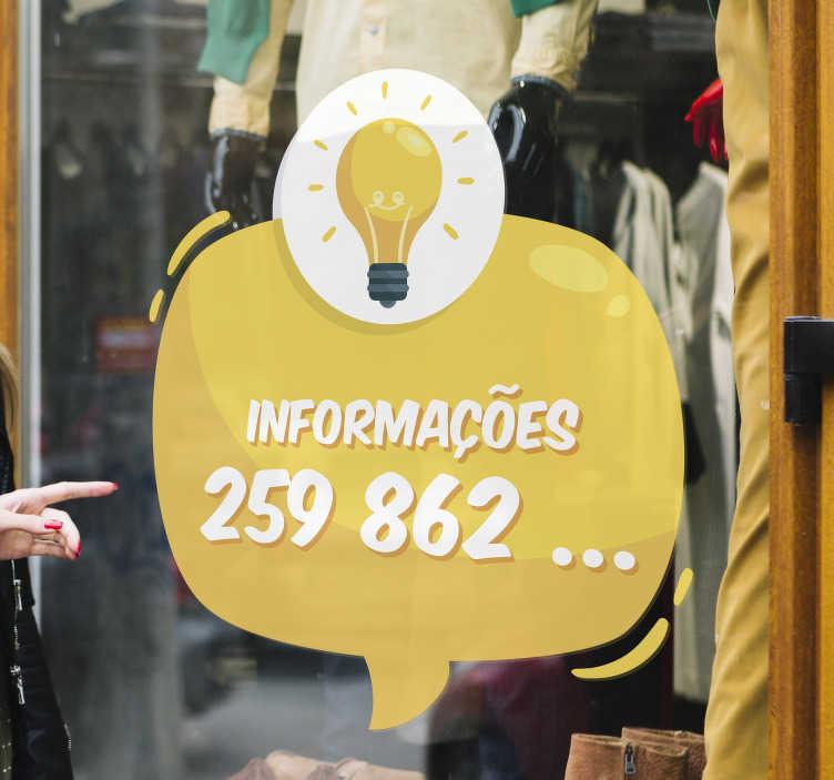 """TenStickers. Autocolantes para montras Informações com Contacto. Avisa os teus clientes que podem contactar-te com este fantástico vini negócios para montras com a palavra """"Informações"""" seguido do número!"""