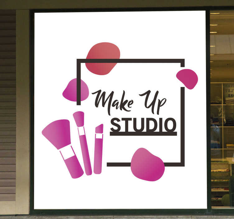 TenStickers. Makeup artist wall decor. Makeup studio artist wall sticker that is design in pink with text in square border. This product is made of high quality matte.