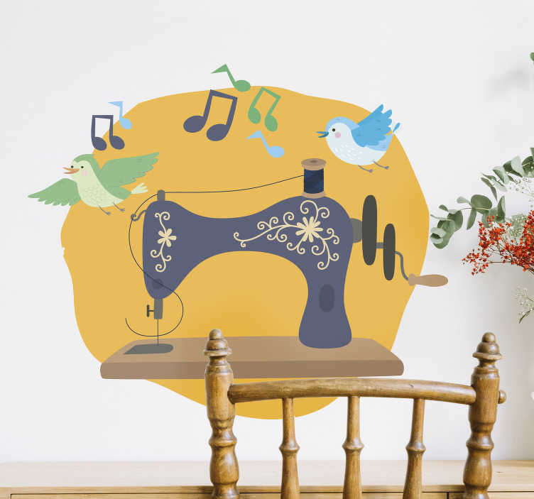 TenStickers. Sewing machine with bird sticker. Sewing machine with bird and sound wall sticker created on a yellow background that will be beautiful on any wall. This design can be in any size.
