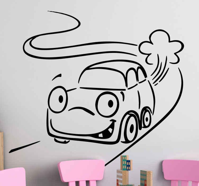 TenStickers. Naklejka dla dzieci samochodzik. Naklejka na ścianę przeznaczona do dekoracji pokoju dla dzieci. Obrazek przedstawia sympatyczny samochodzik jadący ulicą oraz dostępny jest w różnych kolorach i rozmiarach.