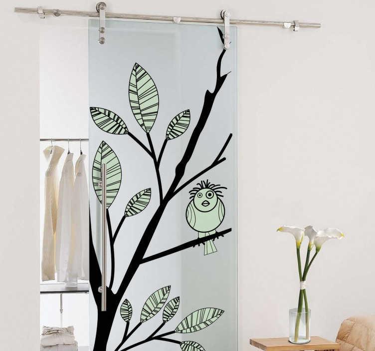 TenStickers. Vogel auf Zweig Aufkleber. Ein Vogel auf einem Ast als Aufkleber - ideal für die Dekoration von Ihrer Tür oder Ihrer Wand.