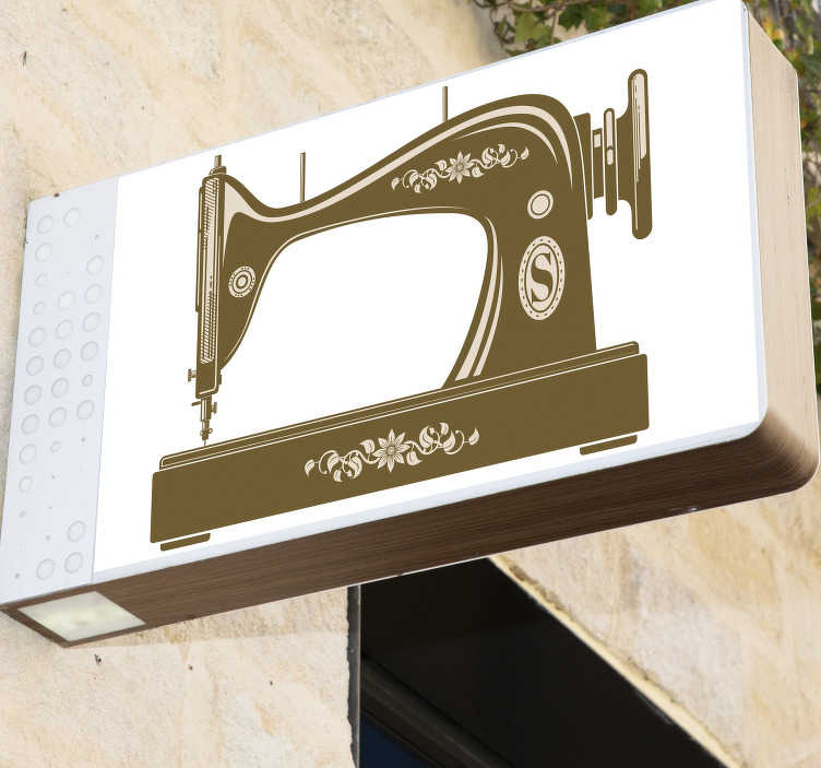 TenStickers. Vintage sewing machine wall decal. Vintage sewing machine wall sticker made of the best quality vinyl material that is easy to apply on the wall and can be in any size of your choice.