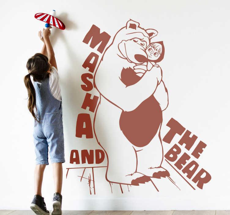 TenVinilo. Vinilo decorativo cartoon Masha y el oso. Exclusivo vinilo infantil adhesivo de Masha y el oso con un adorable diseño para decorar la habitación de tus hijos. Color y medidas a elegir.