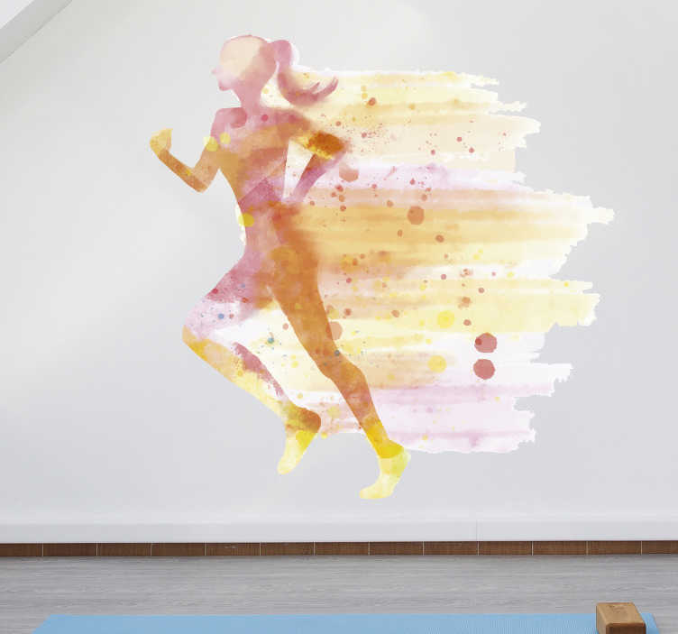 TenVinilo. Vinilo decorativo Mujer en el gimnasio. Exclusivo vinilo pared de deporte para hogar con tonos naranjas con el que podrás decorar la estancia de tu casa que prefieras con un diseño exclusivo