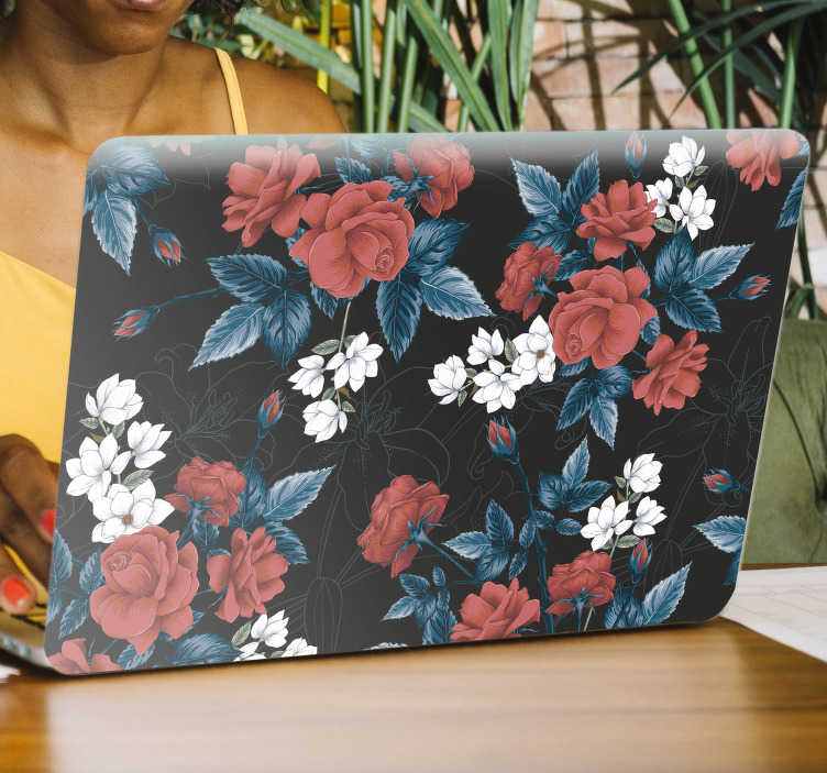 TenStickers. Red floral pattern flower laptop decor. A mixed coloured floral pattern rose  wall sticker that serves all purpose of your surface make with high quality matte and easy apply.