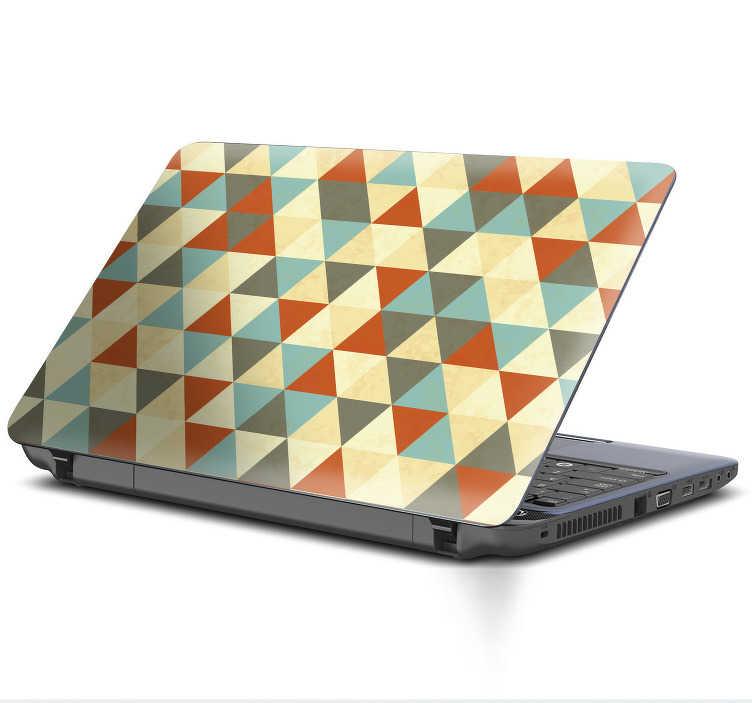 TenVinilo. Pegatina con formas Patrón de triángulos de colores. Original pegatina para portátil o macbook de formas geométricas con la que podrás decorar tu ordenador de forma única. Fácil de colocar.