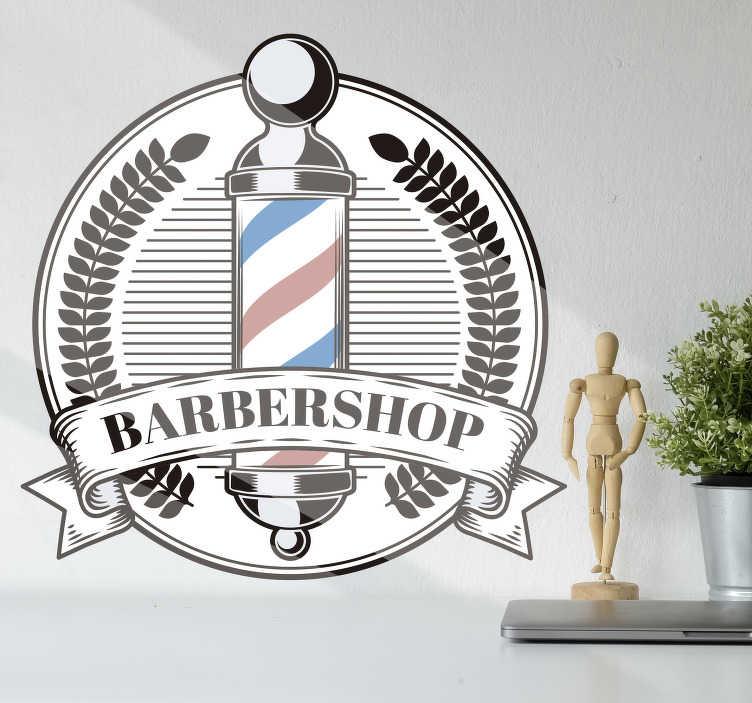 TenVinilo. Pegatina moda poste de peluquero. Original vinilo decorativo con texto para negocio en el que vemos un poste de peluquería con un increíble diseño. Fácil de colocar.