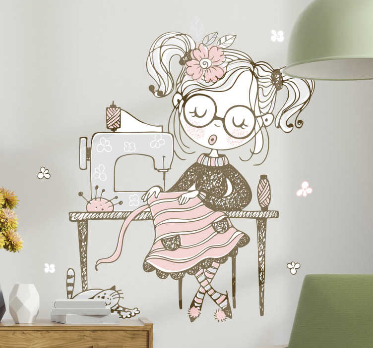 TenStickers. Sewing set illustration wall art. A girl sewing set illustration art wall sticker for your daughter's room. This product is made of high quality material and can be in any size.