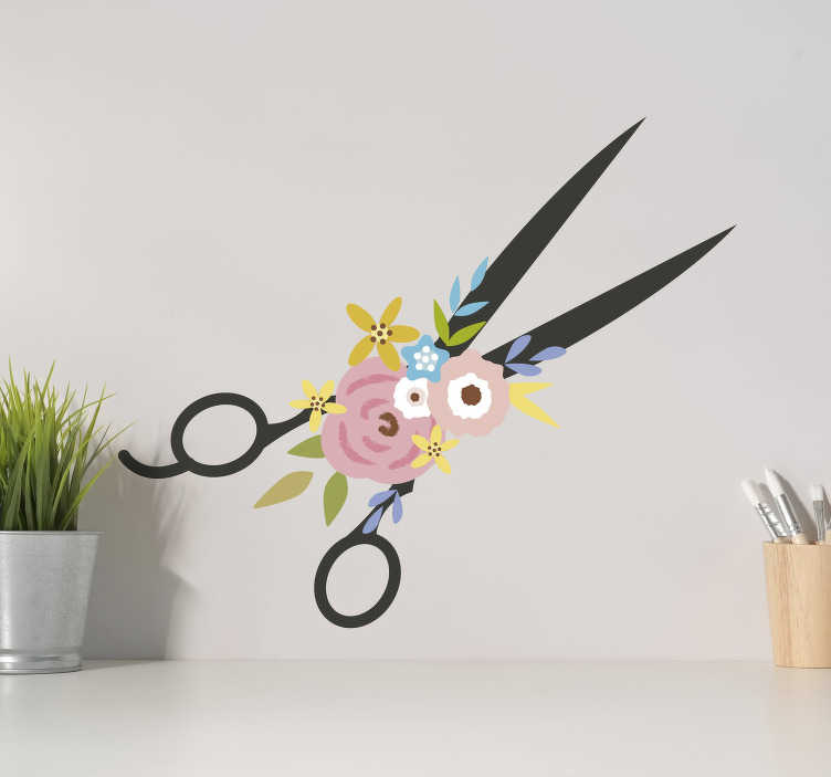TenStickers. Scissors and flowers wall decor. Scissors and flowers wall sticker for your sewing space or any surface. This product is made of high quality and you can get it in any size.