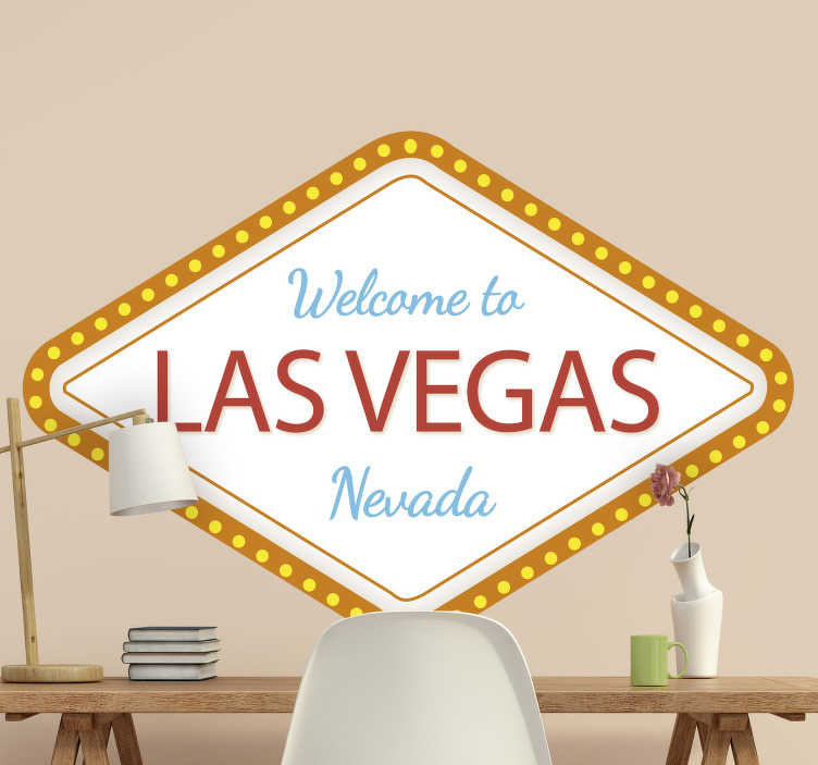 TenStickers. Las Vegas Custom wall decor. Las Vegas custom sign wall sticker that is made of high quality vinyl, easy to apply and  you can request in any size of your choice.