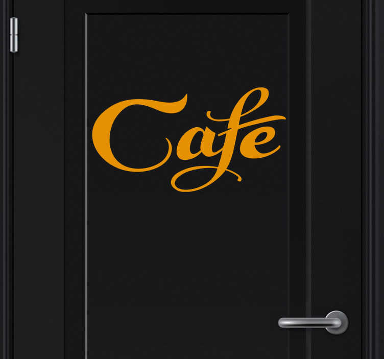 """TenStickers. Sticker deur café. Een leuke decoratie sticker met het woord """"café"""" voor op uw deuren! Een leuke manier voor het decoreren en personaliseren van de deuren."""