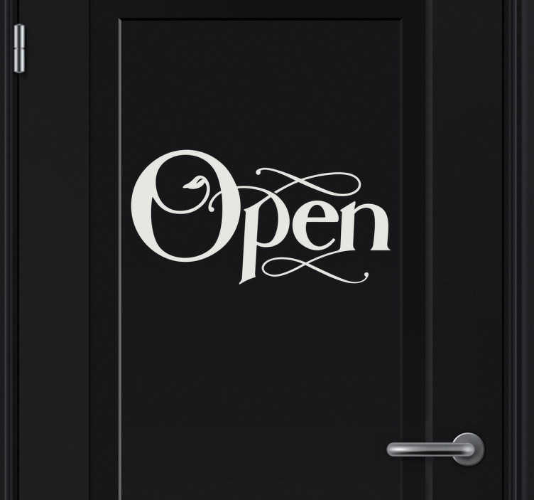 "TenStickers. Open Door Sticker. A decorative sticker for your doors with the text ""Open"". Brilliant to give your door a stylish touch make everyone aware about your door!"