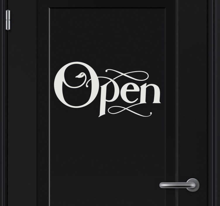 """TenStickers. Aufkleber Icon """"open"""". Dekoratives Wandtattoo: Gestalten Sie ihr Zuhause mit diesem Wandsticker Icon """"Open"""" mit verschnörkelter Schrift. Es wird Ihnen viele Türen öffnen!"""