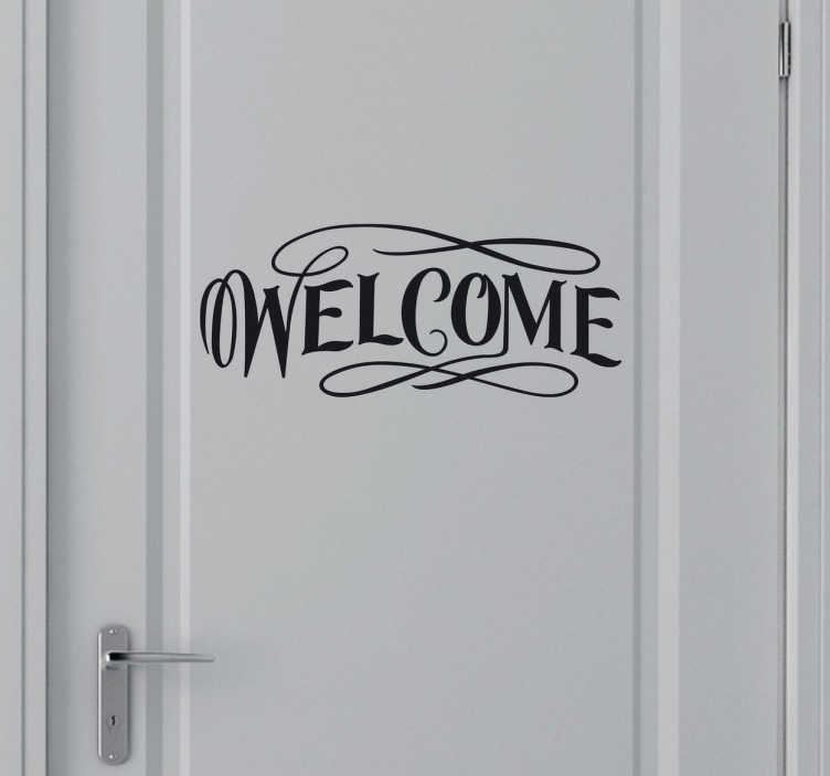 TenVinilo. Vinilo decorativo pegatina welcome. Adhesivo de llamativas letras con lazadas, dando la bienvenida, ideal para puertas. Una decoración de lo más original.
