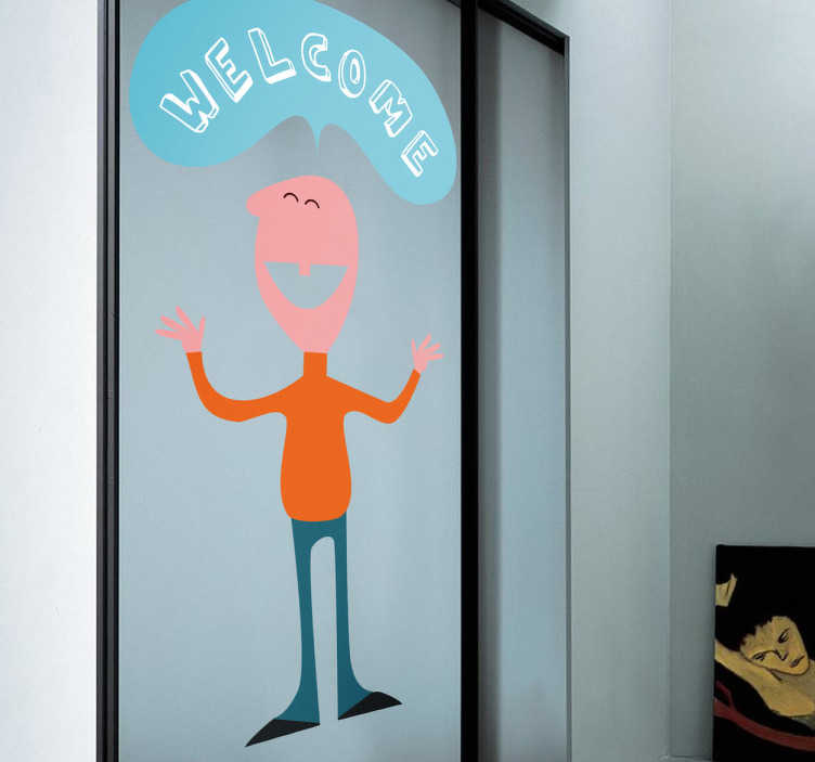 "TenStickers. Man with Welcome Sign Sticker. Sticker with a friendly person saying ""Welcome"" in a comic font. Perfect decal to decorate your home and welcome your guests!"