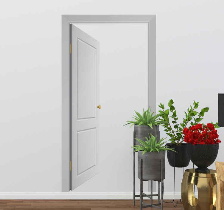 TenStickers. Naklejka dekoracyjna fałszywe drzwi. Naklejka dekoracyjna, która przedstawia fałszywe, otwarte drzwi. Obrazek jest dostępny w wielu kolorach i wymiarach.