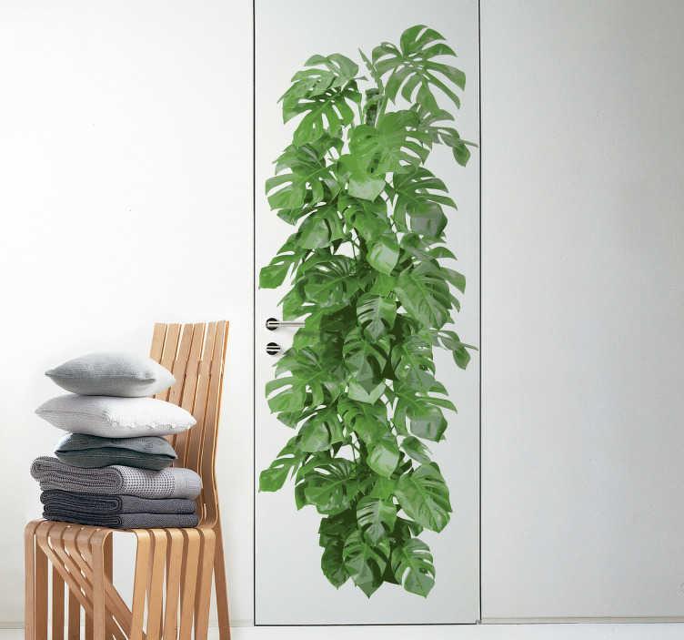 TenStickers. Naklejka dekoracyjna zielona łodyga. Naklejka dekoracyjna na drzwi, która przedstawia zieloną, grubą łodygę.