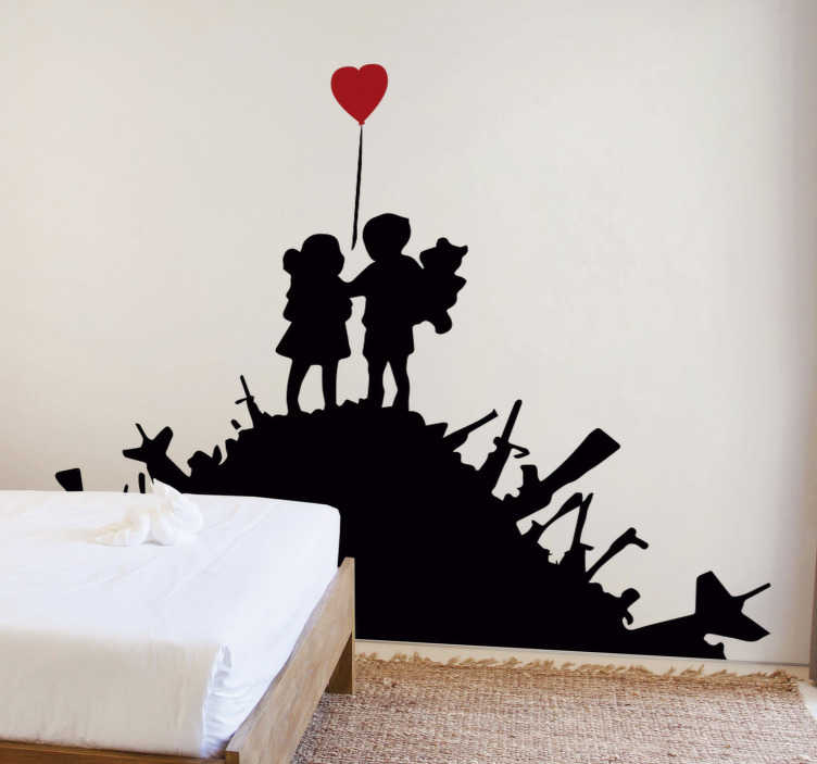 TenStickers. Banksy children vinyl wall art. Banksy children silhouette wall art sticker in your home. Design of two kids holding hands on a trashy site. Design inspired from the banksy artwork.