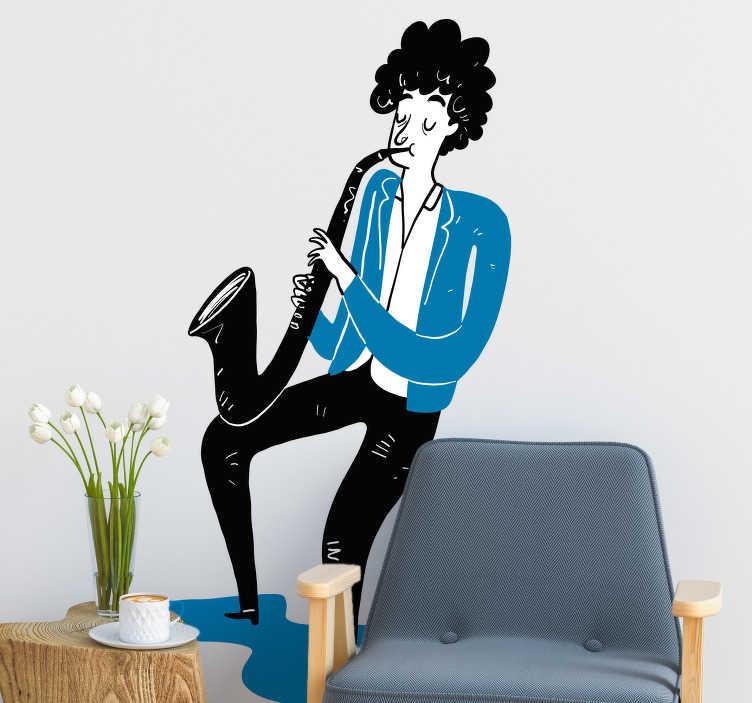 TenStickers. Sticker saxofoon hip. Deze muursticker beeld een cartoonachtige man uit spelend op een saxofoon. Deze sticker is ideaal voor kinderen met muzikale interesses.