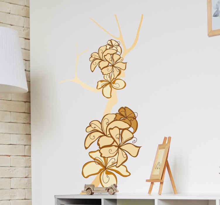TenStickers. Naklejka dekoracyjna gałąź z kwiatami. Naklejka dekoracyjna na drzwi, która przedstawia gałąź drzewa z kwiatami. Całość utrzymana jest w żółtych kolorach.