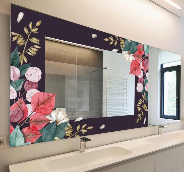 TENSTICKERS. 花飾りミラーステッカー. あなたの家の鏡のオブジェクトのための色とりどりの花で美しい装飾花のフレームのステッカー。この製品は高品質で使いやすいです。