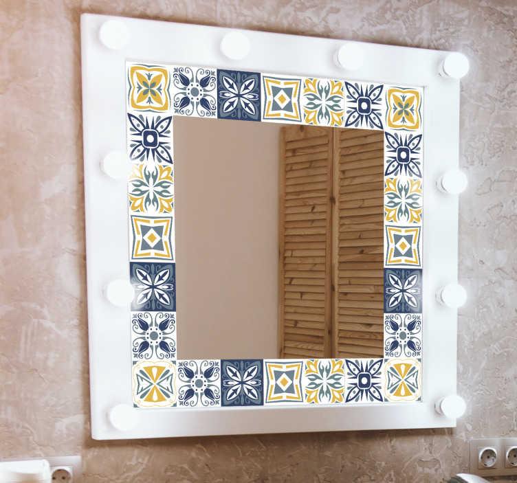 TENSTICKERS. 粘着ミラーフレームウォールステッカー. あなたのバスルームの鏡に審美的な美しさを備えた明確な表面を作成する美しい接着ミラーフレームステッカー。簡単に適用できます。