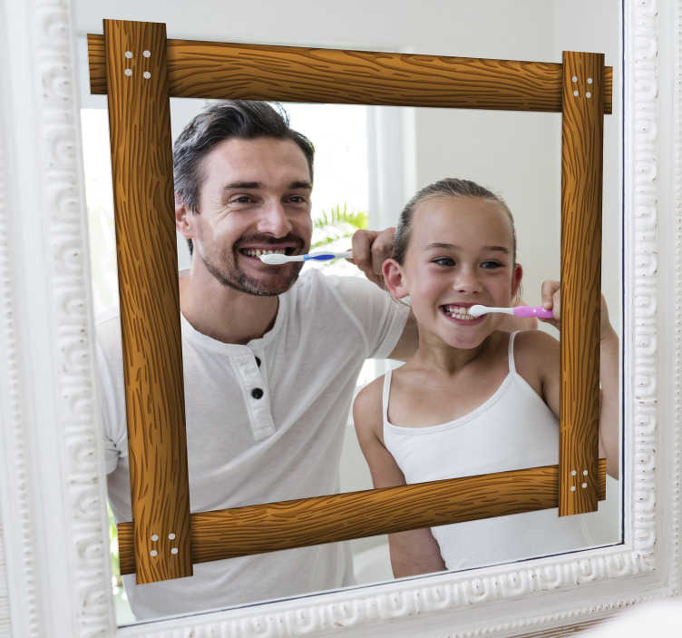 TenStickers. wooden mirror frame  sticker. Decorative wooden style mirror frame sticker for your bathroom mirror or any mirror surface at home. It is easy to apply and you can have it in sizes.