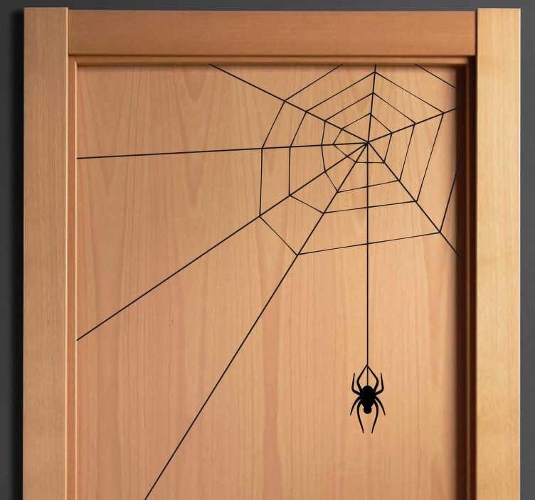 TenStickers. Spider Web Sticker. Decals - Illustration of a spider hanging from its web. Can be placed on the corners of your walls, doors or windows.