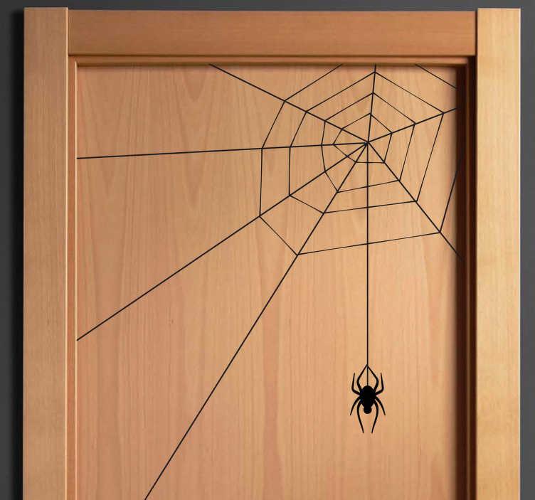 TenVinilo. Vinilo decorativo tela de araña. Adhesivo terrorífico de este insecto tejiendo con seda su trampa para cazar. Decoración para puerta o para cualquier esquina de tu casa diferente y curiosa.