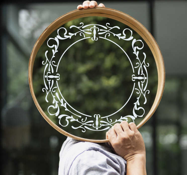 TenStickers. vintage mirror frame  sticker. Decorative vintage mirror frame sticker  to create a well define surface for your mirror objects. This beautiful ornamental design is easy to apply.