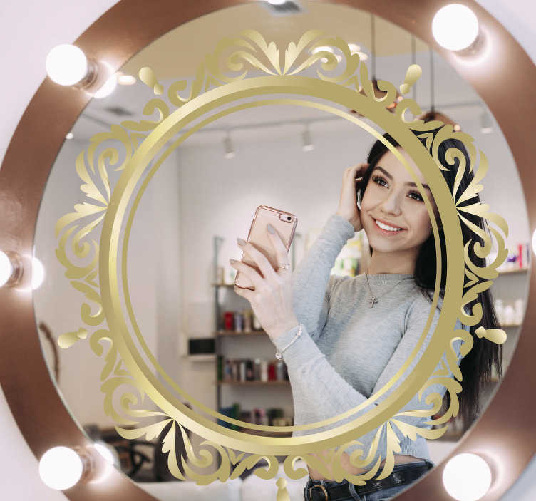 TenStickers. circular frame mirror wall sticker. Round mirror frame mirror sticker that will be nice for your mirror This product is a golden circled shape with flowers to make your mirror beautiful.
