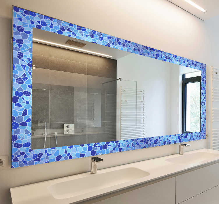 TenStickers. bathroom mirror frame wall sticker. Bathroom mirror frame mirror sticker that is framed with multiple diamond shapes in blue colour. This product will give your mirror a nice definition.
