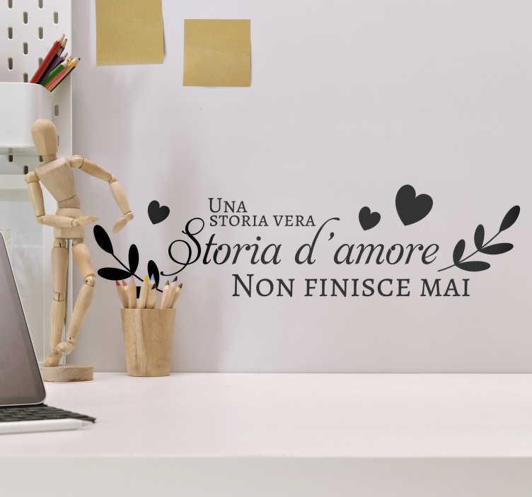 TenStickers. Adesivo murale San Valentino d'amore. Questo adesivo di San Valentino con frase d'amore  è un modo perfetto per celebrare la tua storia di coppia e per fare un pensiero dolce e incantevole!