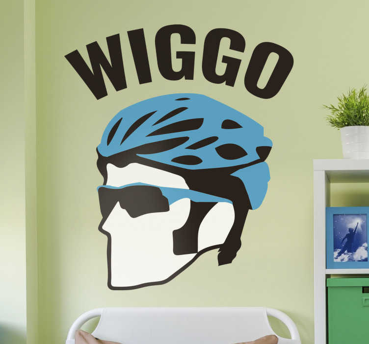 TenStickers. Bradley Wiggins Wiggo cycling wall sticker. Bradley Wiggins wiggo cycling face art wall decal that will be nice in the living room or bedroom. This product of high quality is very easy to apply.