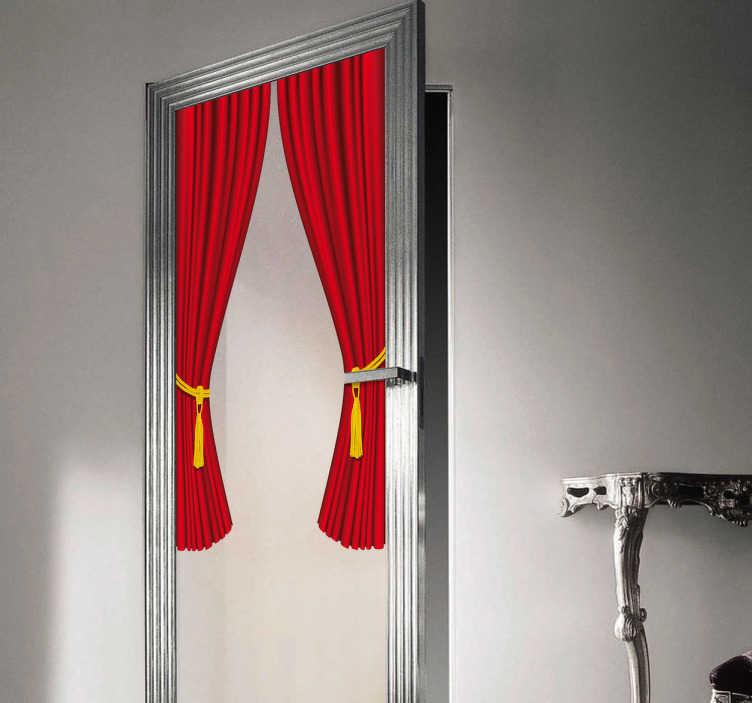 TenStickers. Naklejka dekoracyjna zasłony. Elegancka naklejka dekoracyjna, która przedstawia czerwone zasłony. Ciekawa ozdoba do dekoracji drzwi lub okien.