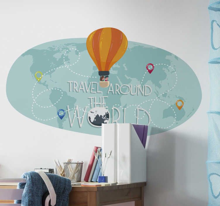 TenStickers. Colourful world map with air balloons wall sticker. Colourful world map with hot air balloons wall sticker design that will look nice in your kid bedroom to give the feeling that  they can fly anywhere.
