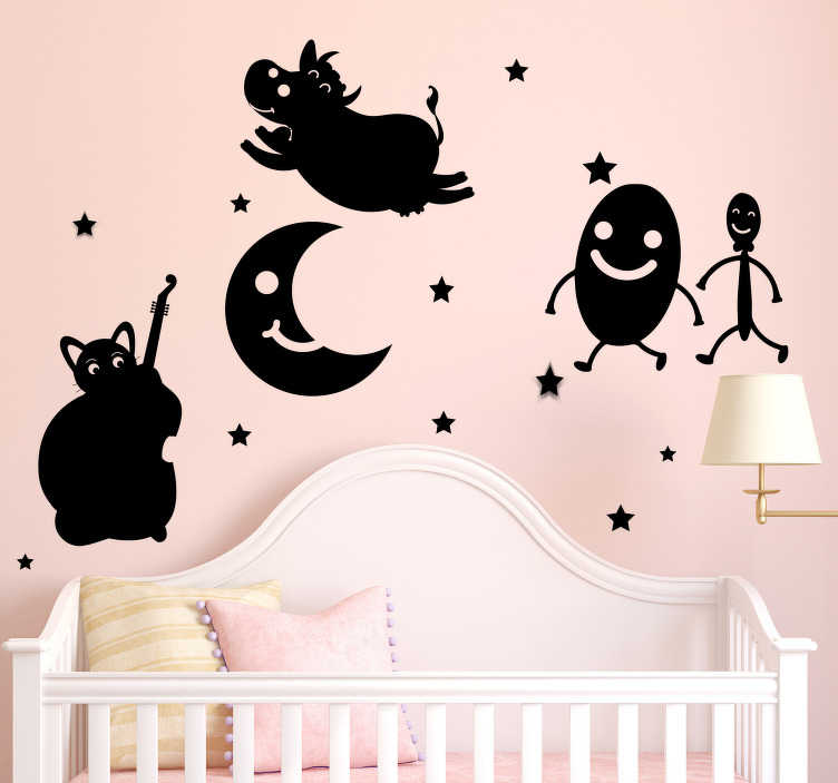 TenStickers. Hey diddle diddle the cat wall decor. Hey diddle the cat animal wall sticker for you kids bedroom. This product is designed with the character your kids love . You can have it in any size.