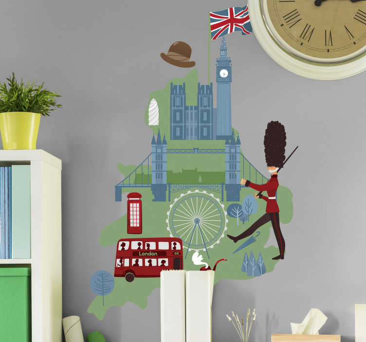 TenStickers. Map of  UK world map sticker. Do you love UK? Make your home look outstanding with this unique map of UK world map wall sticker in your living room. Just choose your prefered size.