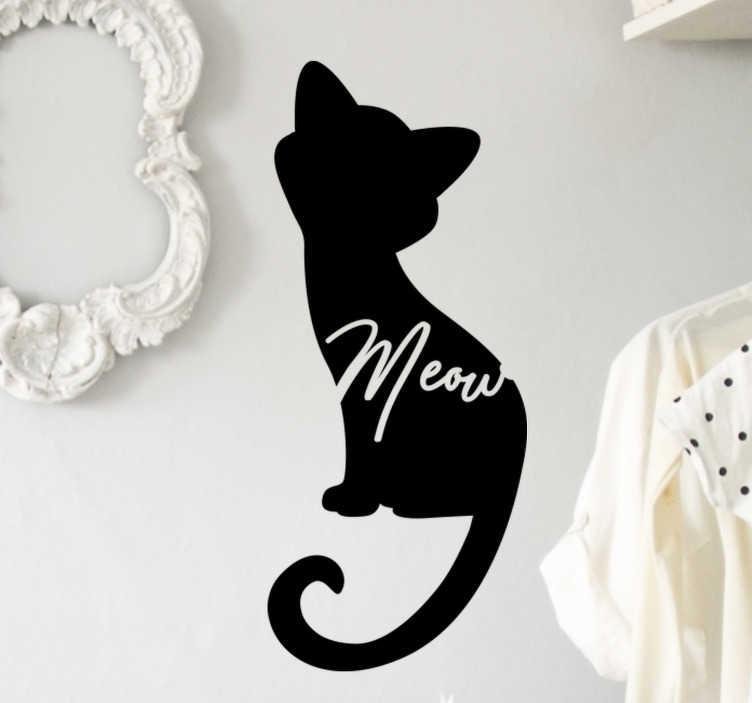 TenStickers. Adesivo murale sagoma gatto miagolio. Adesivo da parete animale sagoma gatto miagolio. Un disegno di un gatto in formato silhouette con il testo 'miao su di esso. Questo design artistico è davvero unico.