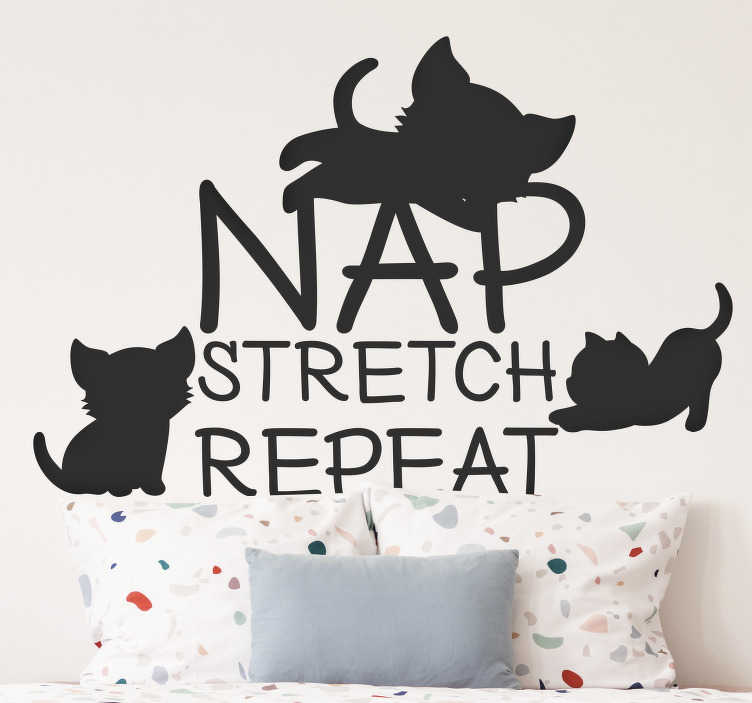 TenStickers. Nap, stretch, repeat wall decor. Nap, stretch, repeat daily routine wall sticker for your bed space or any part of your home. This product is designed of cat and beautiful text style.
